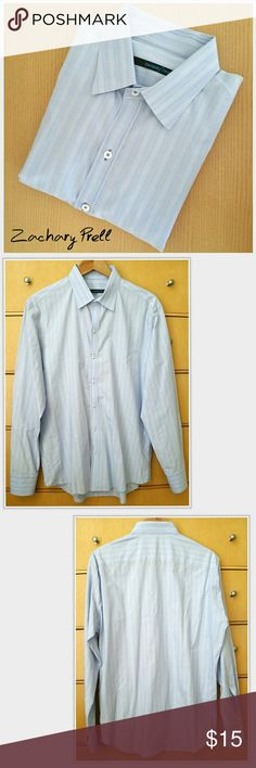 ⚖ Zachary Prell Men's Dress Shirt Blue Pin Stripe * Zachary Prell men's dress shirt. Light-blue & white pin-stripe. * Size large * 100% cotton * Very good used condition. No damage to note.  BUNDLE & SAVE • FAST SHIPPER • TOP SELLER Zachary Prell Shirts Dress Shirts