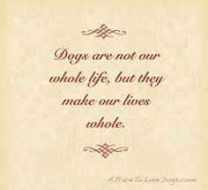 Dogs are not our whole life, but they make our lives whole #quote #pets