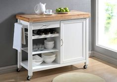 Denver White Modern Kitchen Cart with Butcher Block Top | Home Furniture»SHOP BY ROOM»KITCHEN | DINING ROOM»BAKERS RACKS | MOBILE ISLANDS | KITCHEN KARTS