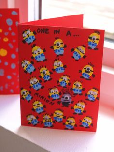 Fingerprint Minion Card - a fun craft for kids based on the Minions film