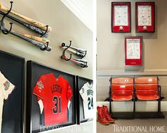 The downstairs hall is filled with Jon Lester's collection of baseball memorabilia, including two original chairs from Fenway Park. Man Cave Diy, Man Cave Home Bar, Modern Man Cave, Retro Arcade Machine, Big Bathtub, Home Bar Accessories, Ultimate Man Cave, Atlanta Homes, Types Of Flooring