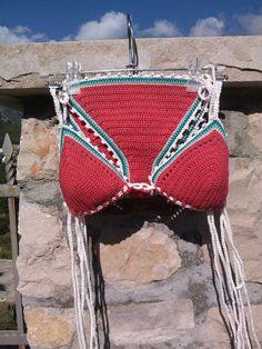 Красный бикини Vintage Вязание крючком бикини Boho по GoodMoodCreations