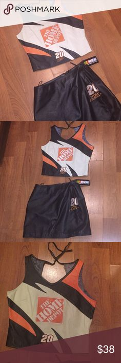 NEW Vtg Leather NASCAR 2 pc crop top and skirt S/M Real leather amazing quality! New w/ tag vintage 90s leather top & skirt set Nascar Home Depot tony Stewart I believe #20. . Fits like a S/M I'm a small modeling not super tight a comfy fit there is a tad bit of room and the Leather has is a bit of give to it so listed as medium 👉🏼👉🏼see pics. Back zipper on shirt & zipper on skirt very sturdy thicker quality leather. Home Depot nascar official brand Similar to Harley Davidson leather…
