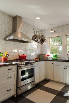White cabinets, gray counters, white backsplash