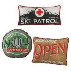 Evoke powdery slopes and snow-dusted peaks in your game room or den with these charming pillows, based on vintage ski lodge signs.  ...