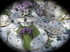 "Royal Stafford ""Sweet Violets"" Tea cup, saucer, & 8 or 10 inch plate trios Quantity: Up to 12 guests Available to rent for your next special occasion from Bonnie Tea Parties (bonnieteaparties@yahoo.com)"