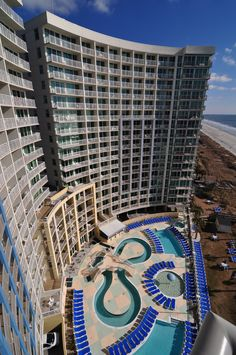 A unique view of Avista Resort, located at 300 North Ocean Boulevard in North Myrtle Beach, South Carolina.