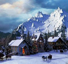 Dominic Davison Solid-Faced Canvas Print Wall Art Print entitled Alpine Christmas, None Christmas Village Display, Christmas Villages, Christmas Decorations, Holiday Decorating, Decorating Ideas, Illustration Noel, Illustrations, Christmas Scenes, Christmas Past