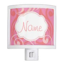 Personalize it! Island Wave Pink Nite Lite- see other coordinating products with this design in ourshops www.zazzle.com/drapestudio and www.cafepress.com/drapestudio  For our handmade organic cotton blankets see our store www.ETSY.com/shop/drapestudio and for fabric and everythig else, visit www.drapestudio.com - makes great baby shower gift addition