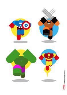 Les illustrations de super-héros par Bunka