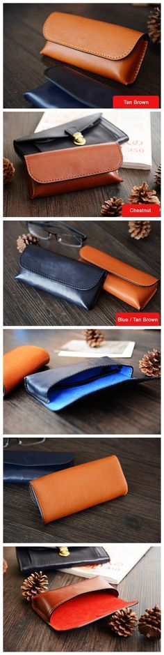 Custom Handmade Vegetable Tanned Italian Leather Sunglass Case Pouch Pocket