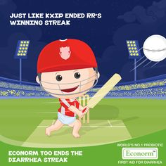 Amazing game Kings XI Punjab! This is how continued determination leads to success, however tough the goal might be. Likewise, Econorm also begins to work from the second day, allowing your kid to successfully win over Diarrhea!