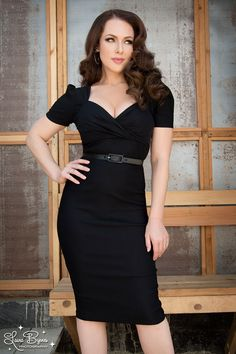 Pinup Couture Erin Wiggle Dress in Short Sleeves in Black