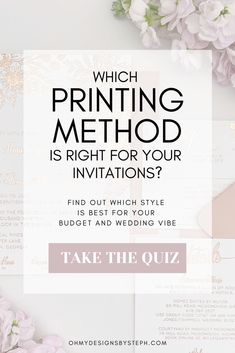 Letterpress, foil stamping, and thermography - oh my! Which printing method is right for your wedding invitation budget and style? Take the quiz now to find out! Budget Wedding Invitations, Foil Stamped Wedding Invitations, Wedding Invitation Design, Wedding Stationery, Wedding Tips, Diy Wedding, Wedding Planning, Dream Wedding, Asking Bridesmaids