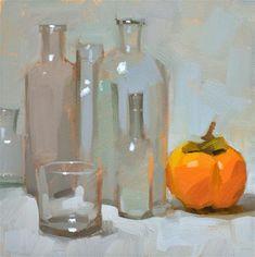 """""""Glass vs. Persimmon - SOLD"""" - Original Fine Art for Sale - © Carol Marine"""