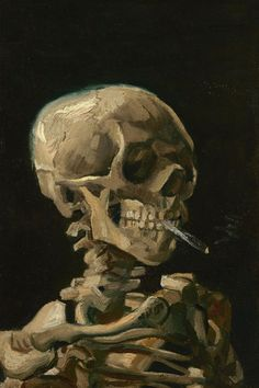 Head of a Skeleton with a Burning Cigarette (Artist: Vincent Van Gogh) c. Arte Van Gogh, Van Gogh Art, Aesthetic Painting, Aesthetic Art, Aesthetic Outfit, Aesthetic Drawing, Aesthetic Clothes, Paintings Tumblr, Alchemy Art