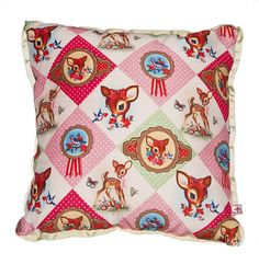 Cotton Candy Diamond Luxury Deer Floral Retro Kitsch Soft Furnishing Cushion