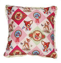 Cotton Candy Diamond Luxury Deer Floral Retro Kitsch Soft Furnishing Cushion