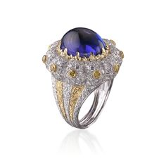 Tanzanite with white & fancy yellow diamonds Cocktail Ring by Buccellati