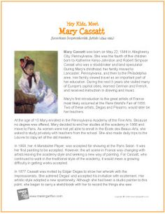 Hey Kids, Meet Mary Cassatt | Printable Biography - makingartfun.com/htm/f-maf-printit/cassatt-printit-biography.htm Art History Lessons, Art Lessons, School Art Projects, Art School, Mary Cassatt Art, Art Handouts, Art Worksheets, Artist Biography, Art Curriculum