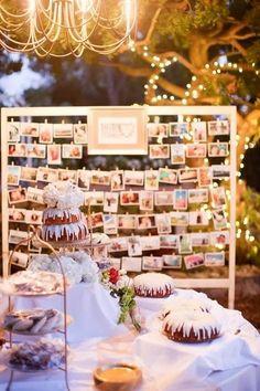 Vintage wedding photo display #wedding #photo #decoration