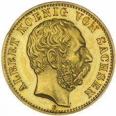 Sachsen, Albert 1873 - 1902 10 Mark 1888 E Gold Deutsches Kaiserreich