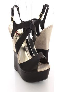 With its trendy design and comfort they are sure to be your favorite all year round! Make sure to add these to your collection, they definitely are a must have! The features for these wedges include a faux leather upper with a cross strap design, slingback design with side buckle closure, peep toe, scoop vamp, shimmer wedge, smooth lining, and cushioned footbed. Approximately 5 1/2 inch wedge heels and 1 1/2 inch platforms.