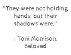 """""""they were not holding hands, but their shadows were."""" - beloved, toni morrison (via ampersands) Jazz Toni Morrison, Beloved Toni Morrison, Jazz Quotes, Book Quotes, Me Quotes, Beloved Quotes, A Course In Miracles, Canvas Quotes, Literary Quotes"""