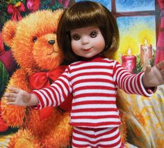 This cute Red and White Stripe Long Sleeve T-Shirt is made specifically by me to fit the 14 Inch Betsy McCall Doll.  Need a cute little