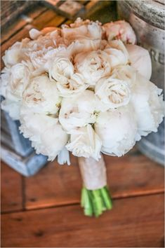 Romantic off-white peony bouquet by Rodarte Floral Design