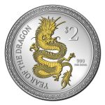 Year of the Dragon Silver Lunar Proof Gilded Gold New Zealand Mint $2 Legal Tender