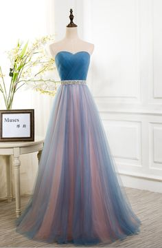 Sweetheart Bridesmaid Dresses, Blue Peach Tulle Strapless Bridesmaid Dresses, Long Bridesmaid Dress, Pleated Sexy Party Formal Gown, A Line Prom Dress with Beads Sashes, Prom Dress