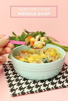A delicious and easy recipe for Gluten-Free chicken noodle soup. Glitter and Bubbles shares this simple and easy recipe that is a fit for everyone at the table. #ChickenNoodleSoup #GluetenFree Easy Delicious Recipes, Quick Recipes, Yummy Food, Eat Pretty, Free Chickens, Chicken Noodle Soup, Gluten Free Chicken, Food Hacks, Food Print