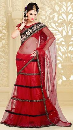 $105.53 Red Net Resham Work Lehenga Saree 26359