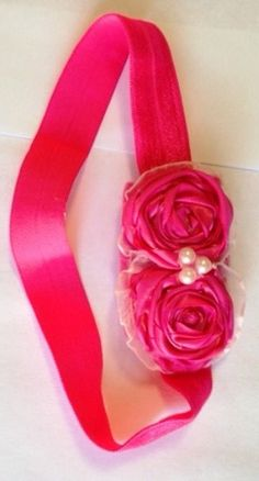 "2 Hot Pink Satin Rosettes Snuggled Together Surrounded by Lace with Pearl Embellishment and 14"" Unstretched Hot Pink Ribbon Headband by GirlyCurlBowtique on Etsy (null)"