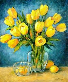 """Daily Paintworks - """"Tulips in the Light"""" - Original Fine Art for Sale - © Nancy F. Tulip Painting, Oil Painting Flowers, Yellow Painting, Acrylic Flowers, Guache, Spring Art, Arte Floral, Colorful Drawings, Mellow Yellow"""