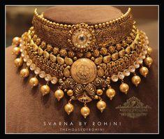 Antique Jewellery Designs, Fancy Jewellery, Gold Jewellery Design, Stylish Jewelry, Gold Jewelry, Pearl Necklace Designs, Jewelry Design Earrings, Gold Earrings Designs, Indian Jewelry Sets