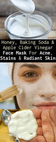Honey, Baking Soda & Apple Cider Vinegar Face Mask For Acne, Stains & Radiant Skin Age spots, acne, wrinkles and other blemishes on your skin are often the source of a major insecurity… Belleza Diy, Tips Belleza, Organic Skin Care, Natural Skin Care, Natural Beauty, Organic Beauty, Organic Facial, Organic Makeup, Natural Face