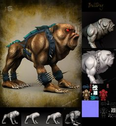 I have created another mood of this BullDog..........:) Basic sculpting in zbrush . For texturing I have used Mari.  Render in 3ds max.