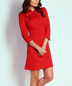 Look at this NAOKO Red Tie-Neck A-Line Dress on #zulily today!