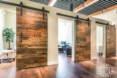 Triple door love! Mixed hardwoods sliding door for B2B Wellness in Scottsdale.