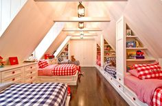 """View this Great Cottage Kids Bedroom with flush light & Bunk beds in W Hampton Bch, NY. The home was built in 1924 and is 7028 square feet. Discover & browse thousands of other home design ideas on Zillow Digs. Bunk Rooms, Attic Bedrooms, Kids Bedroom, Shared Bedrooms, Bedroom Ideas, Bedroom Decor, Bedding Decor, Childrens Bedroom, Floral Bedding"