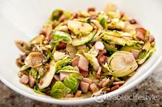 A delicious, easy diabetic recipe for your next family get together:  Brussels sprouts with Canadian bacon. Full nutritional information and diabetic exchange information included on this DiabeticLifestyle recipe for people with type 1 diabetes or type 2 diabetes.