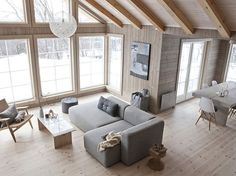 White, wood, exposed beams, large windows (for living room)