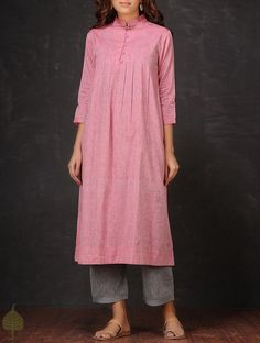 Buy Pink Pleated Mangalgiri Cotton Kurta by Jaypore Apparel Accessories Fabric & More Online at Jaypore.com