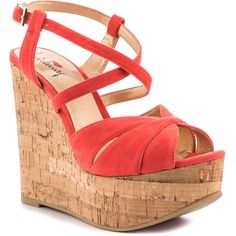 Luichiny Women's Bre Anna - Hot Coral ($65) ❤ liked on Polyvore featuring shoes, sandals, wedges, heels, open toe, casual, platform, women, platform wedge sandals and open toe wedge sandals