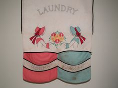 Embroidered laundry bag by TouchingThePast on Etsy, $50.00