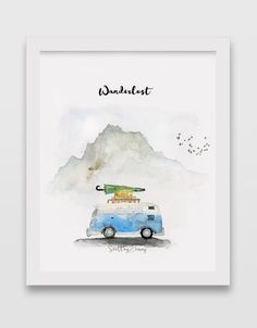 drawings VW Bus Watercolor Art Print How Much Activity is Too Much? Watercolor Print, Watercolor Illustration, Watercolor Paintings, Watercolor Landscape, Watercolor Cactus, Bus Art, Painting Prints, Art Prints, Art Aquarelle