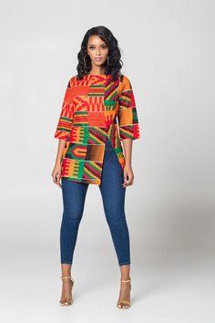 African Print Longi Kente Top