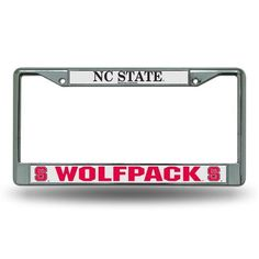 Rico North Carolina State University Chrome License Plate Frame (Silver, Size ) - NCAA Licensed Product, NCAA Novelty at Academy Sports